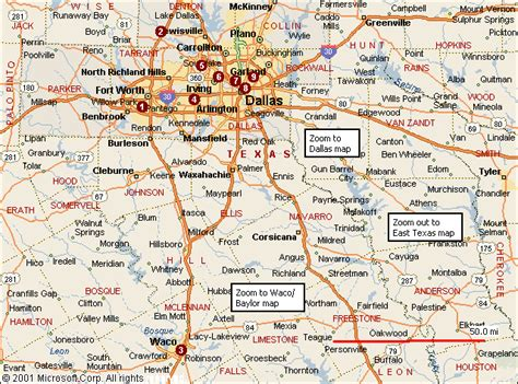 map of dallas texas and surrounding cities waco texas map