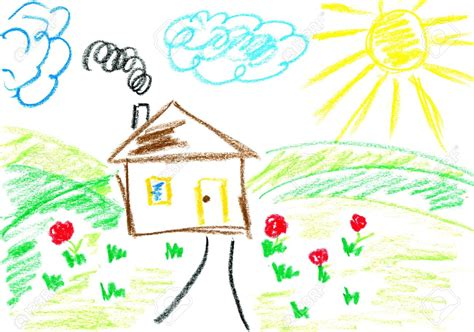 Drawn Hosue Crayon Pencil And In Color Drawn Hosue Crayon Children Drawing Pictures For Painting