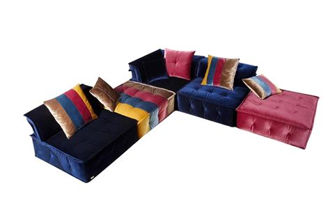 multi color sectional sofa chloe ultra chic fabric sectional lux lounge efr 888