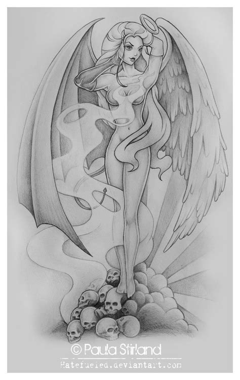 angel and demon tattoo drawings half angel half devil quotes quotesgram