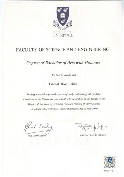 Award Of Degree Letter Mmu Education And Qualifications Edward Holden Ba Hons Mcd With Distinction