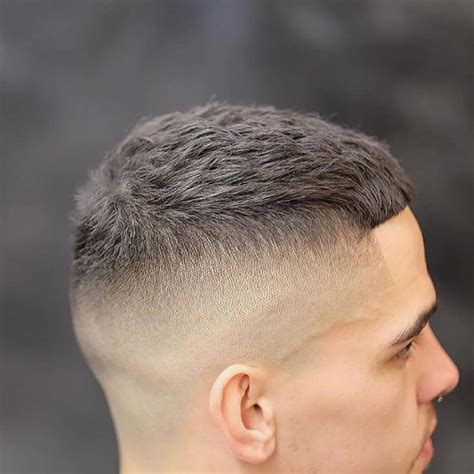 hairstyles with cut men s short textured crew cut with skin fade and bangs