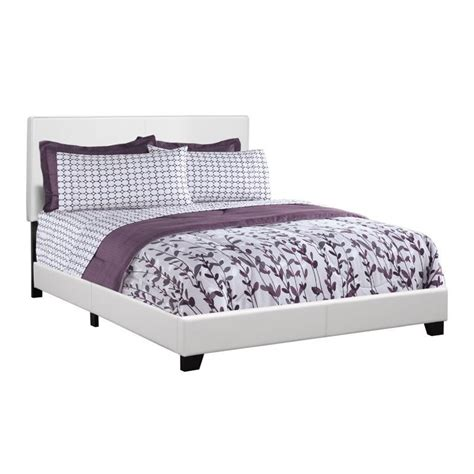 white upholstered queen bed monarch leather upholstered queen bed in white