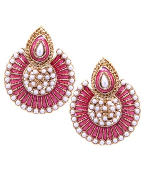 pink earrings celebrity tradisyon bollywood celebrity inspired stunning pearl with