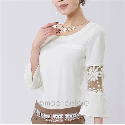 Korean Style Blus With Necklace Sleeve 1 fashion design korea style flared peplum o neck shirts chiffon lace sleeve blouse tops