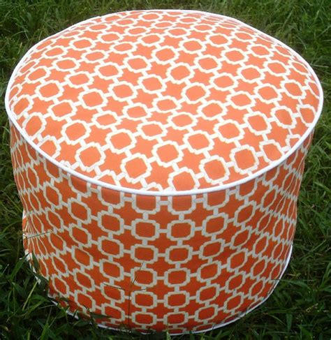 orange pouf ottoman pouf ottoman floor pillow chain links in bright orange by