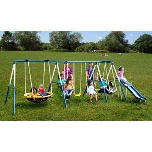 metal swing sets at walmart sportspower super 8 fun metal swing set kids pinterest