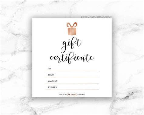Editable Gift Card Template by Etsy Gift Certificate Template Mangdienthoai