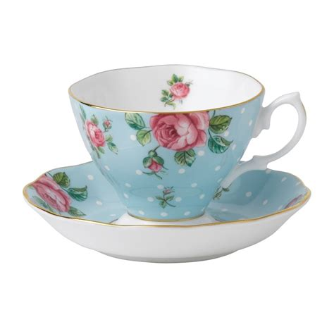 Bilder Teetasse by Royal Albert Polka Blue Vintage Teacup Saucer Royal