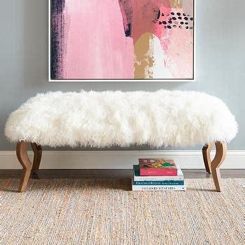 mongolian fur bench luxe fur grey bench