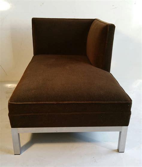 modernist aluminum and velvet chaise lounge for at