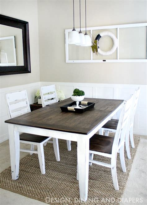 Diy Dining Room Table Makeover White Paint Marquee Sanded Minwax Mahogany Stain Table Legs 2 75 Quot At Top And