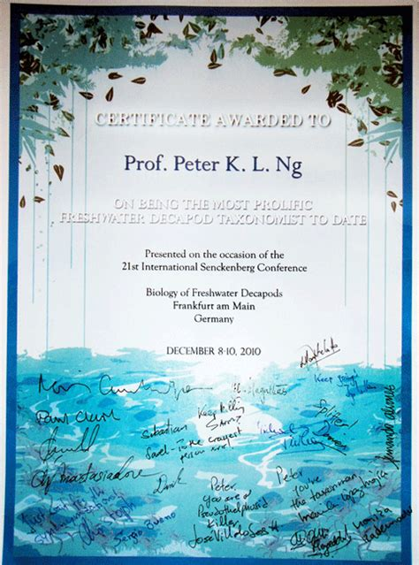 prof peter ng recognized    prolific freshwater