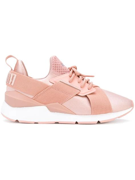puma muse satin en pointe sneakers  pink purple pink