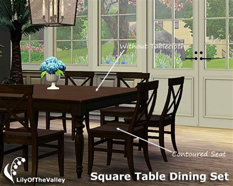 Dining Room Set Sims 3 Lilyofthevalley S Square Table Dining Set