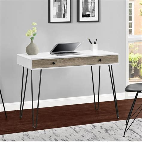retro writing desk in white and sonoma oak 9890296com