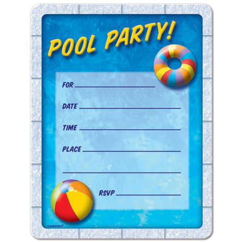 printable pool party decorations pool party invitations free printable birthdaydirect
