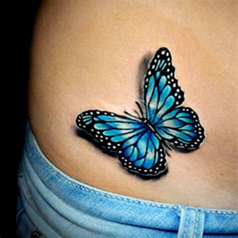 blue butterfly tattoo black outline blue butterfly on hip