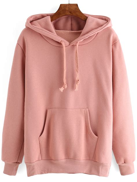 Cardigan Hoodies Pocket Dusty hooded drawstring pocket pink sweatshirt