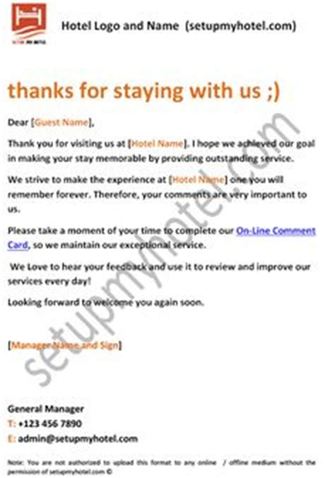 Thank You Letter Hospitality Appreciation Sles 1000 Images About Sle Hotel Guest Formats On Hotels Front Office And Hotel Guest