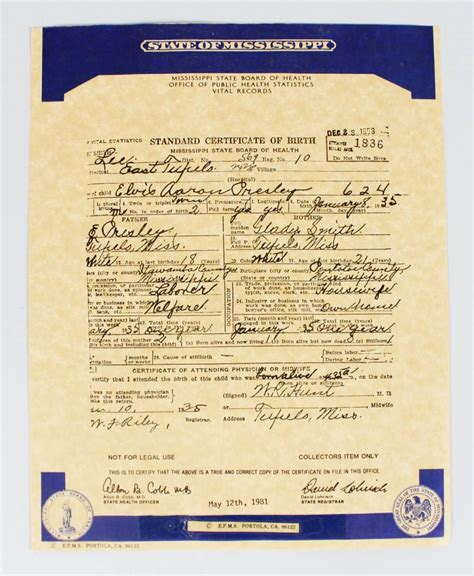 Mississippi Birth Records Free Elvis S Official Birth Certificate From Mississippi State Board Of He