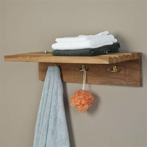 Bathroom Shelving For Towels Teak Towel Shelf With Robe Hooks Bathroom