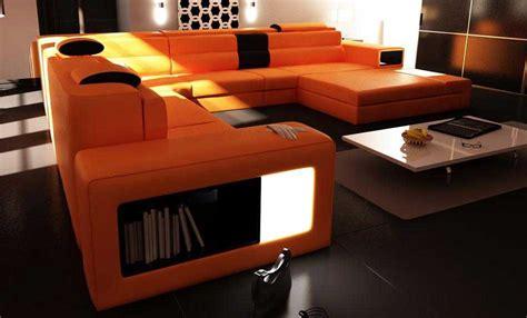 orange modern furniture polaris orange leather sofa leather sectionals