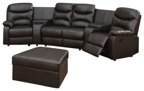 leather theater sectional 5 piece brown bonded leather match theatre sectional
