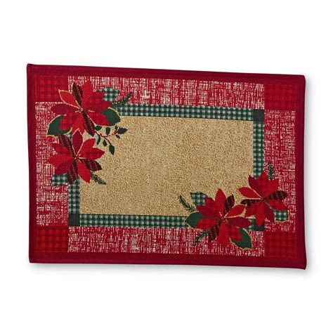 christmas accent rugs essential home christmas accent rug poinsettias plaid