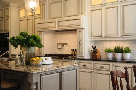 Antique Grey Kitchen Cabinets by Arabesque Backsplash Tiles Design Decor Photos
