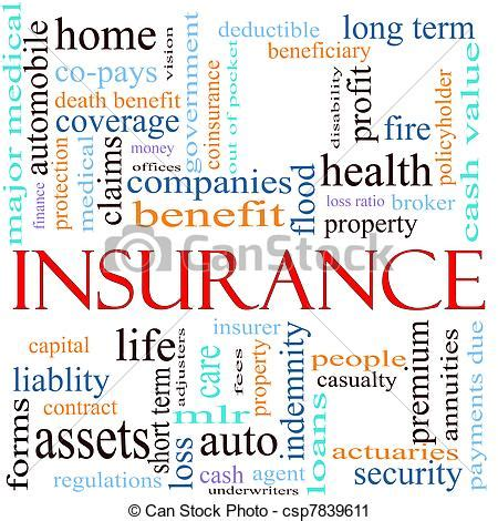 Clipart of Insurance Word Concept Illustration   An