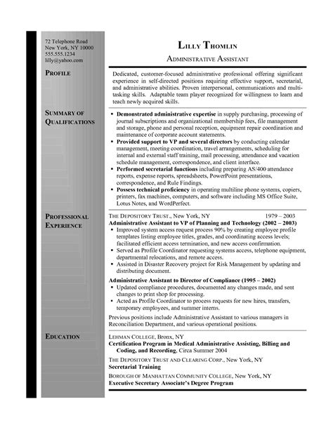 summary for assistant resume resume summary administrative assistant administrative