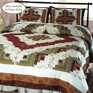 Bed Quilts Log Cabin Patchwork Quilt Bedding