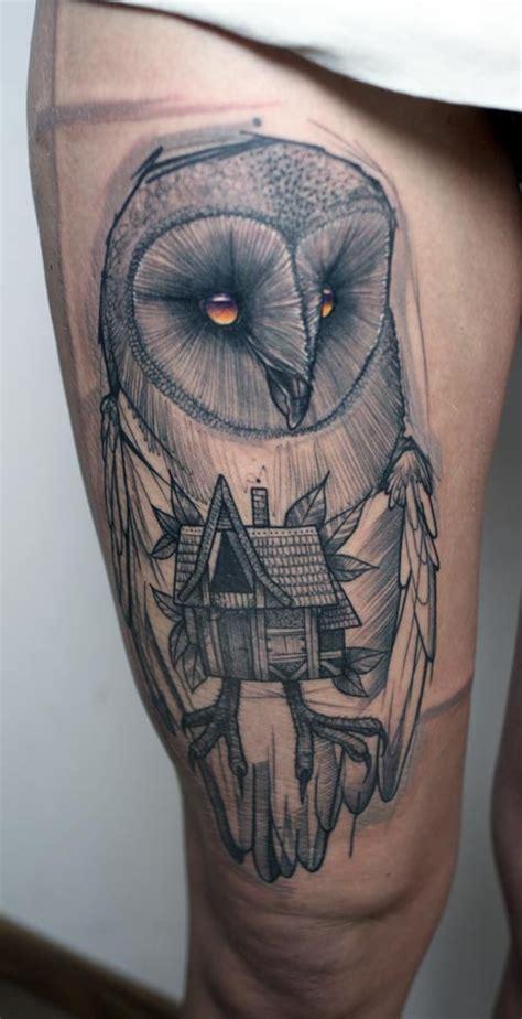tattoo owl geometric geometric unique owl arm tattoo black and white tattoos