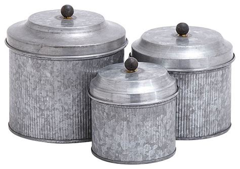 metal canisters kitchen galvanized metal 3 pc canister set industrial kitchen