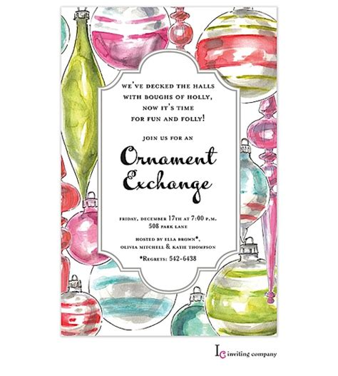 sle wording for ornament exchanges ornament exchange invitations ornament exchange invitations