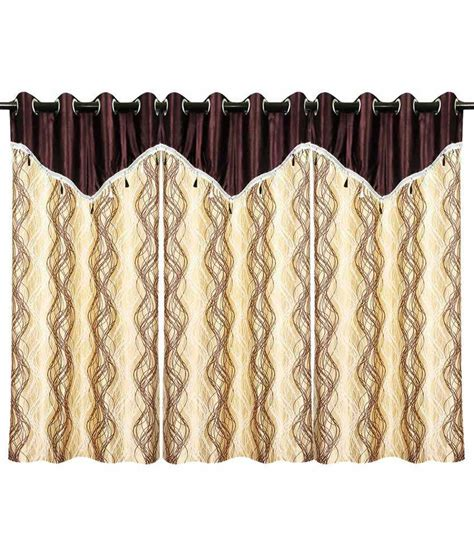 flap curtains spiral design window curtain brown beige with flap 3 pcs