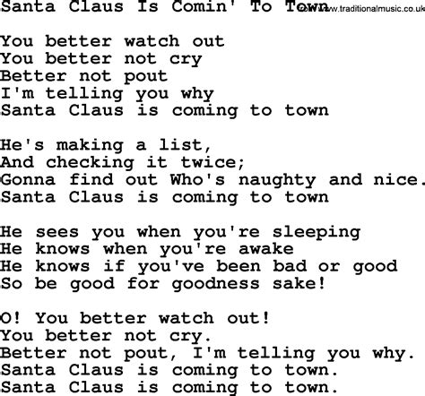 printable lyrics for santa claus is coming to town catholic hymns song santa claus is comin to town