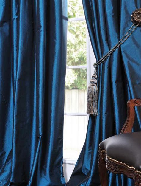 blue silk drapes azul faux solid taffeta drapes decorative silk valances