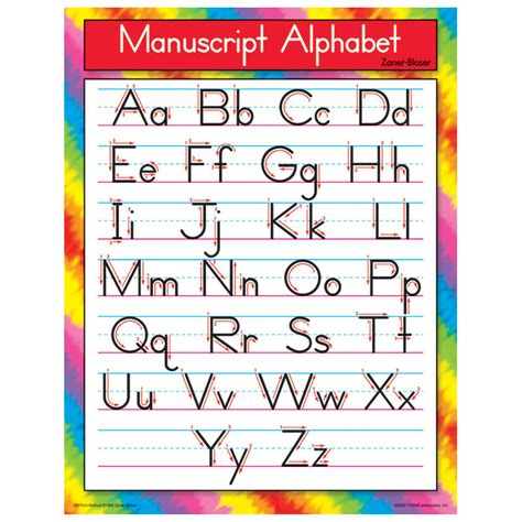 printable alphabet handwriting chart search results for printable zaner bloser cursive