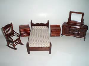 dollhouse miniature furniture 5 bedroom wood set