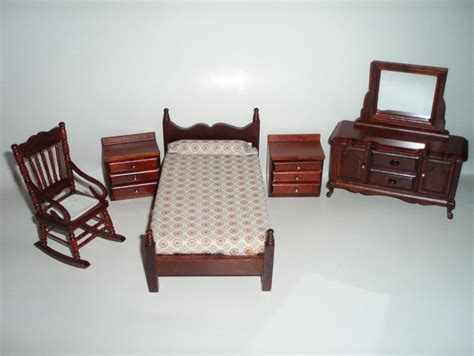 Dollhouse Furniture Set by Dollhouse Miniature Furniture 5 Bedroom Wood Set