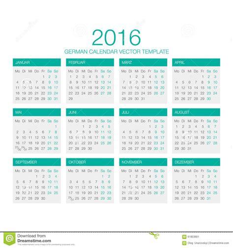 German Kalender 2016 German Calendar Vector 2016 Stock Illustration Image