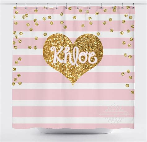 pink and gold shower curtain light pink stripe and gold glitter heart shower curtain