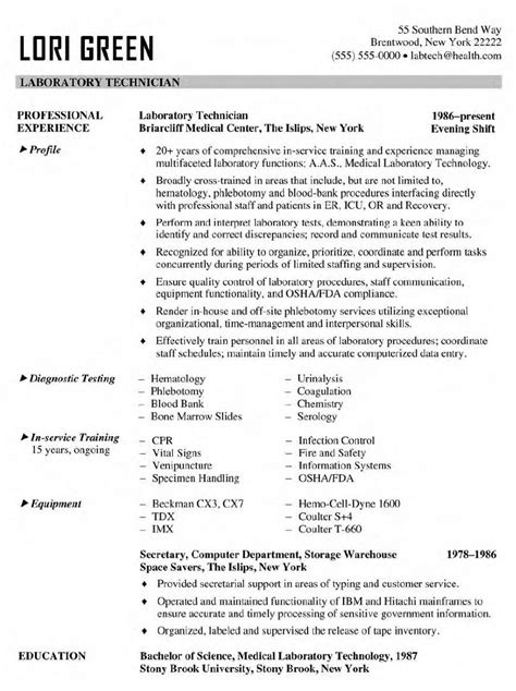 lab tech resume  excel templates