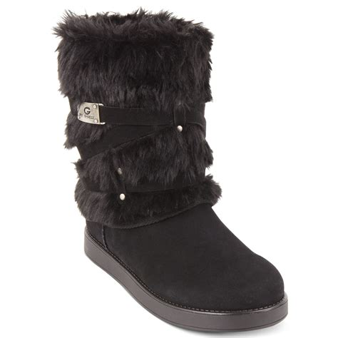 fur boots g by guess archy faux fur cold weather boots in black lyst