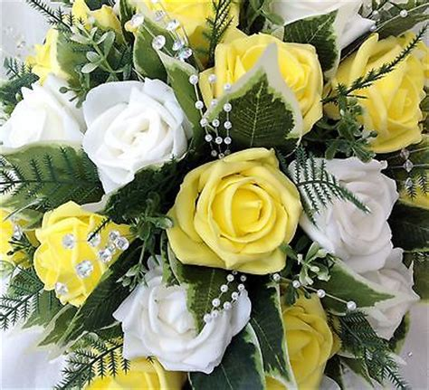 bouquet artificial wedding flowers brides teardrop bouquet in white yellow roses