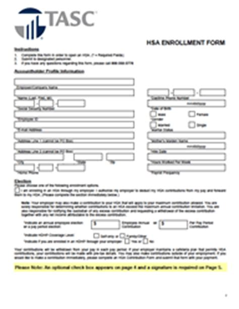 Forms And Publications Hsa Enrollment Form Template