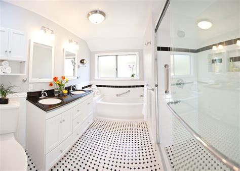 Bathroom Countertop Decorating Ideas Classic Black Amp White Bathroom Remodel Traditional