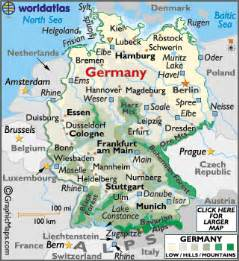 Germany On The Map by Germany Maps Including Outline And Topographical Maps